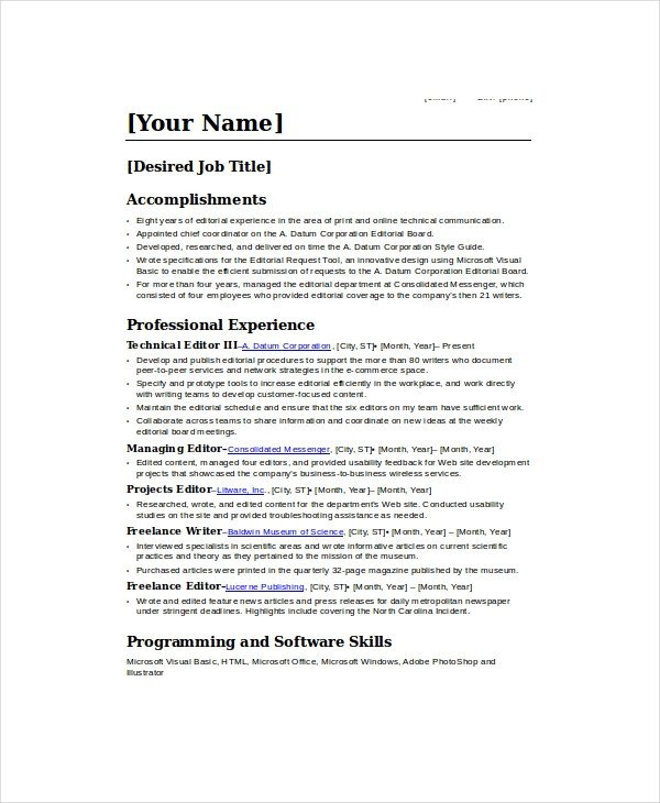Freelance Writer Resume Sample Freelance Resume Template 6 Free Word Pdf Documents