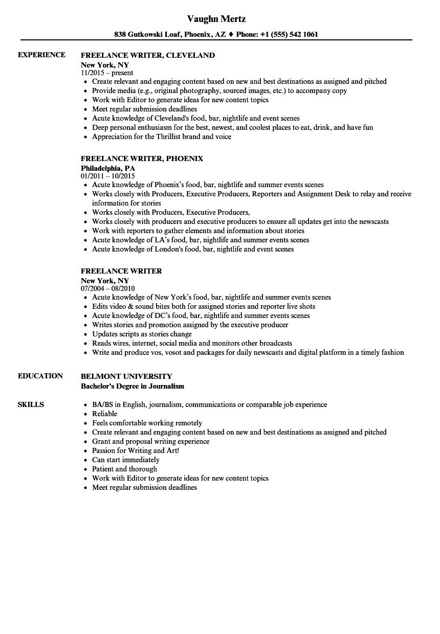Freelance Writer Resume Sample Freelance Writer Resume Samples