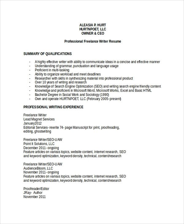 Freelance Writer Resume Sample Sample Freelance Resume Template 8 Free Documents