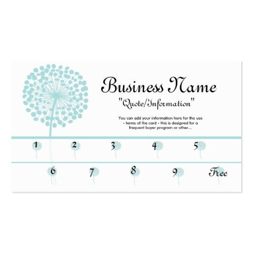 Frequent Buyer Card Template Blue Dandelion Loyalty Cards Frequent Buyer Business Card