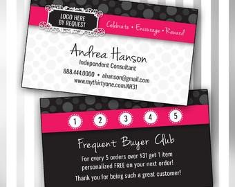 Frequent Buyer Card Template Items Similar to Scentsy Consultant Business Card W
