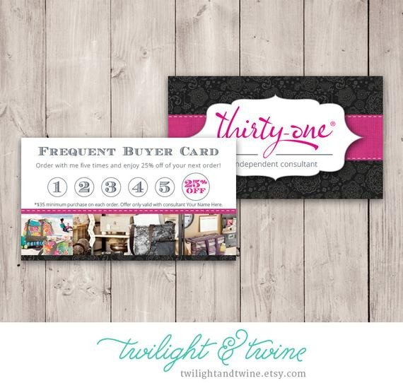 Frequent Buyer Card Template Thirty One Frequent Buyer Card Custom Pdf Printable