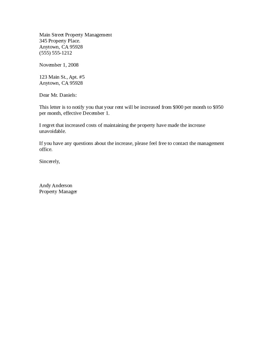 Friendly Rent Increase Letter 2019 Rent Increase Letter Fillable Printable Pdf