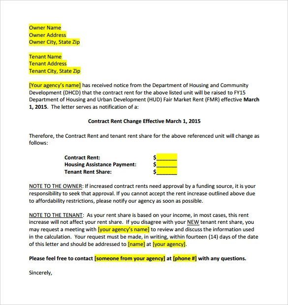 Friendly Rent Increase Letter 9 Sample Rent Increase Letter Templates Pdf Word