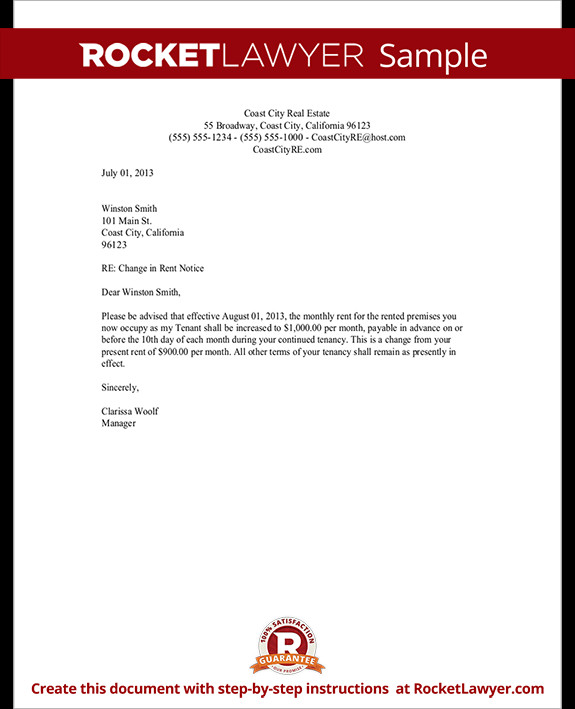 Friendly Rent Increase Letter Rent Increase Letter Template