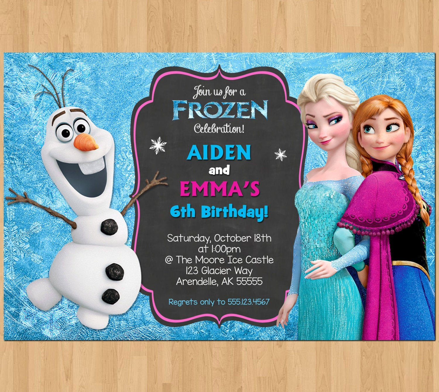 Frozen Bday Party Invitations Sibling Birthday Invitation Frozen Invitation Olaf Elsa Anna