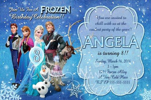 Frozen Birthday Invitations Cards Anna Elsa Peronalized Custom Disney Frozen Photo Birthday