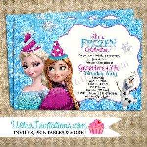 Frozen Birthday Invitations Cards Disney Frozen Birthday Invitations Party Custom