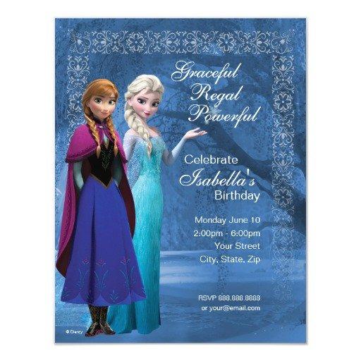 "Frozen Birthday Invitations Cards Frozen Anna and Elsa Snowflake Birthday Invitation 4 25"" X"