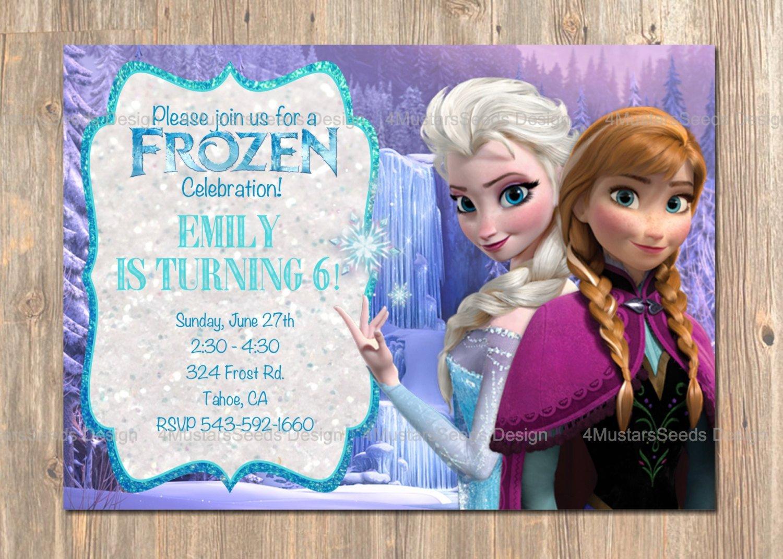 Frozen Birthday Invitations Cards Frozen Birthday Invitation Elsa Anna Frozen Invitation