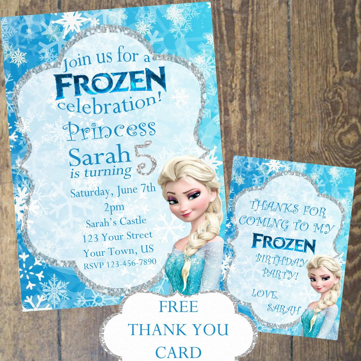 Frozen Birthday Invitations Cards Frozen Invitation and Thank You Card by Designsbycarrielee