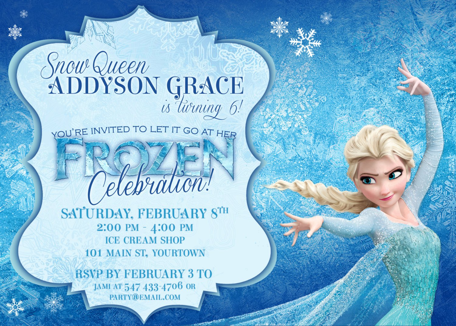 Frozen Birthday Invitations Cards Frozen themed Party Invitations Printable Pdfs Elsa and Anna