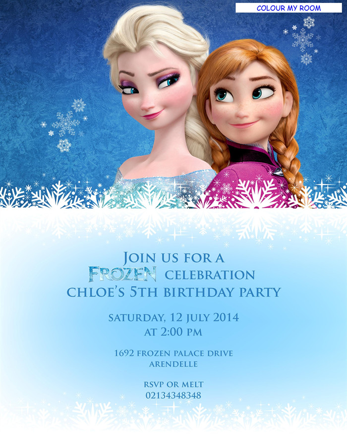 Frozen Birthday Invitations Cards Printable Frozen Birthday Party Personalised Invitation