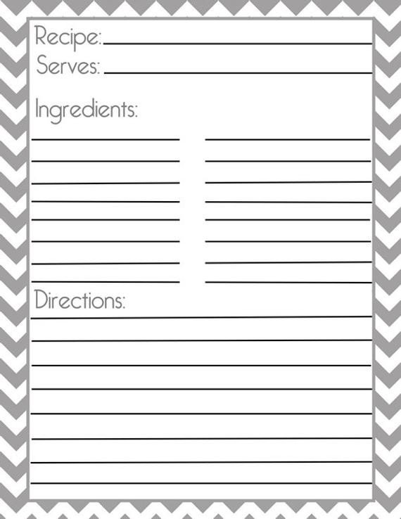 Full Page Recipe Template Editable Chevron Gray Recipe Page and Filler Page