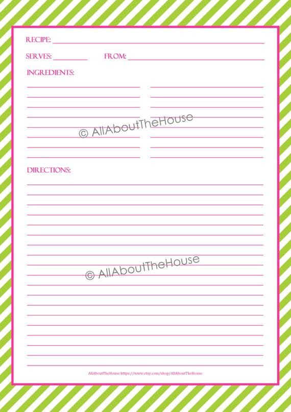Full Page Recipe Template Editable Editable Recipe Binder Printables Recipe Sheet by