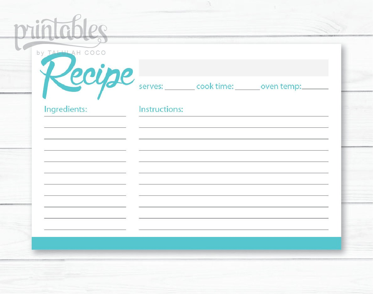 Full Page Recipe Template Editable Editable Recipe Card Blue Green Printable 4x6 Recipe Cards