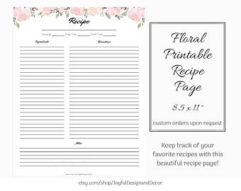 Full Page Recipe Template Editable Full Page Recipe