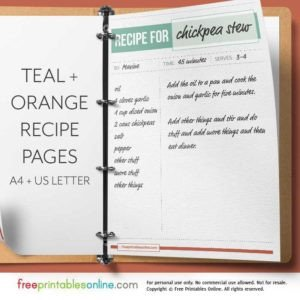 Full Page Recipe Template Editable Printable Recipe Pages