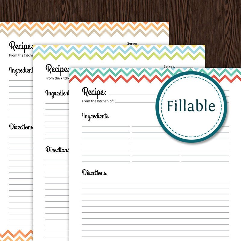 Full Page Recipe Template Editable Recipe Card Full Page Colourful Chevron Fillable
