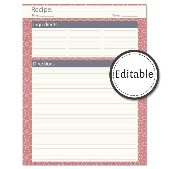 Full Page Recipe Template Editable Recipe Card Full Page Editable Instant by
