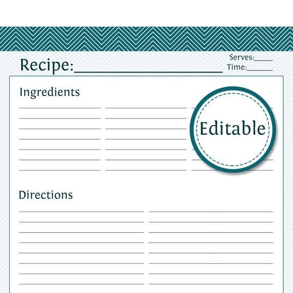 Full Page Recipe Template Editable Recipe Card Full Page Fillable Printable Pdf Instant