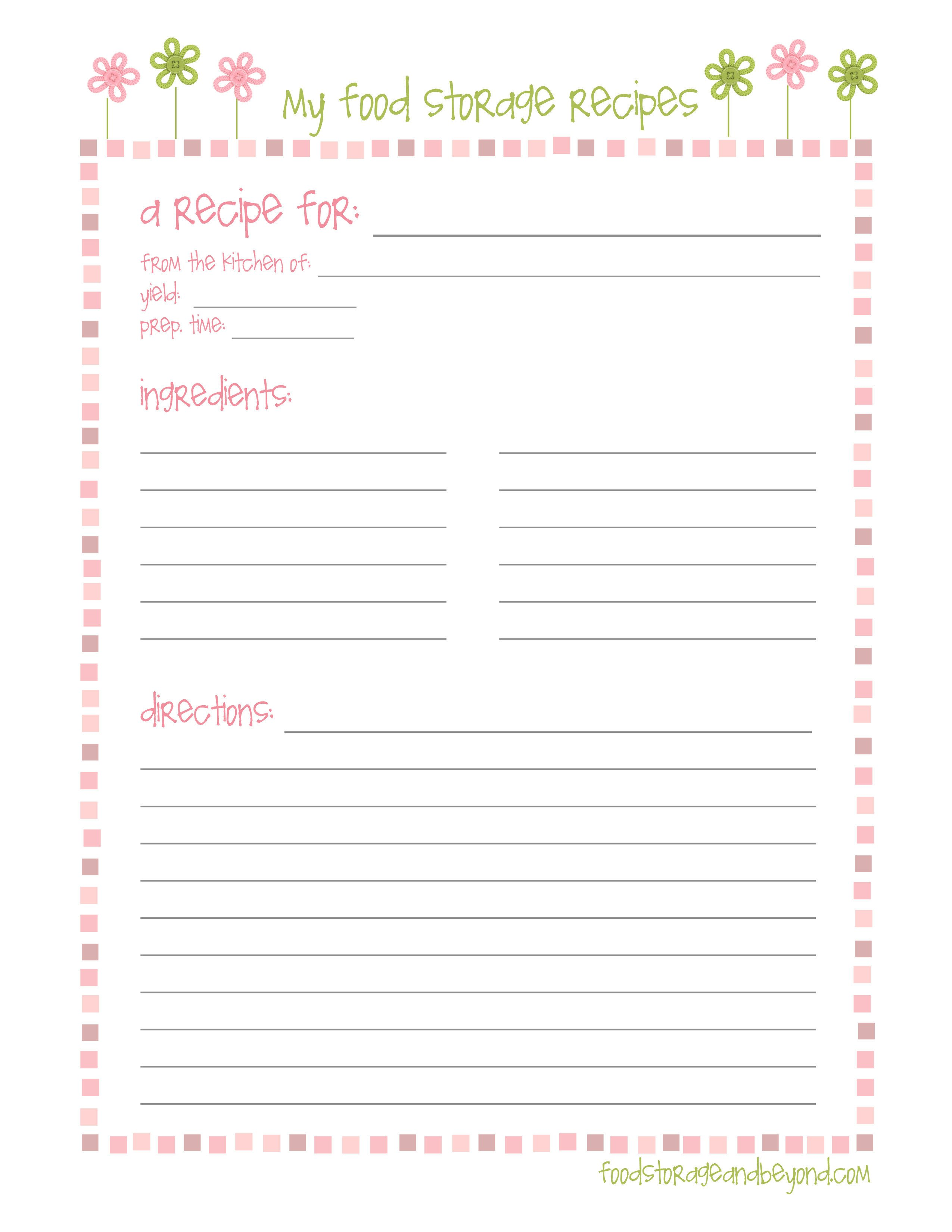 Full Page Recipe Template Editable Recipe Cards – Food Storage and Beyond