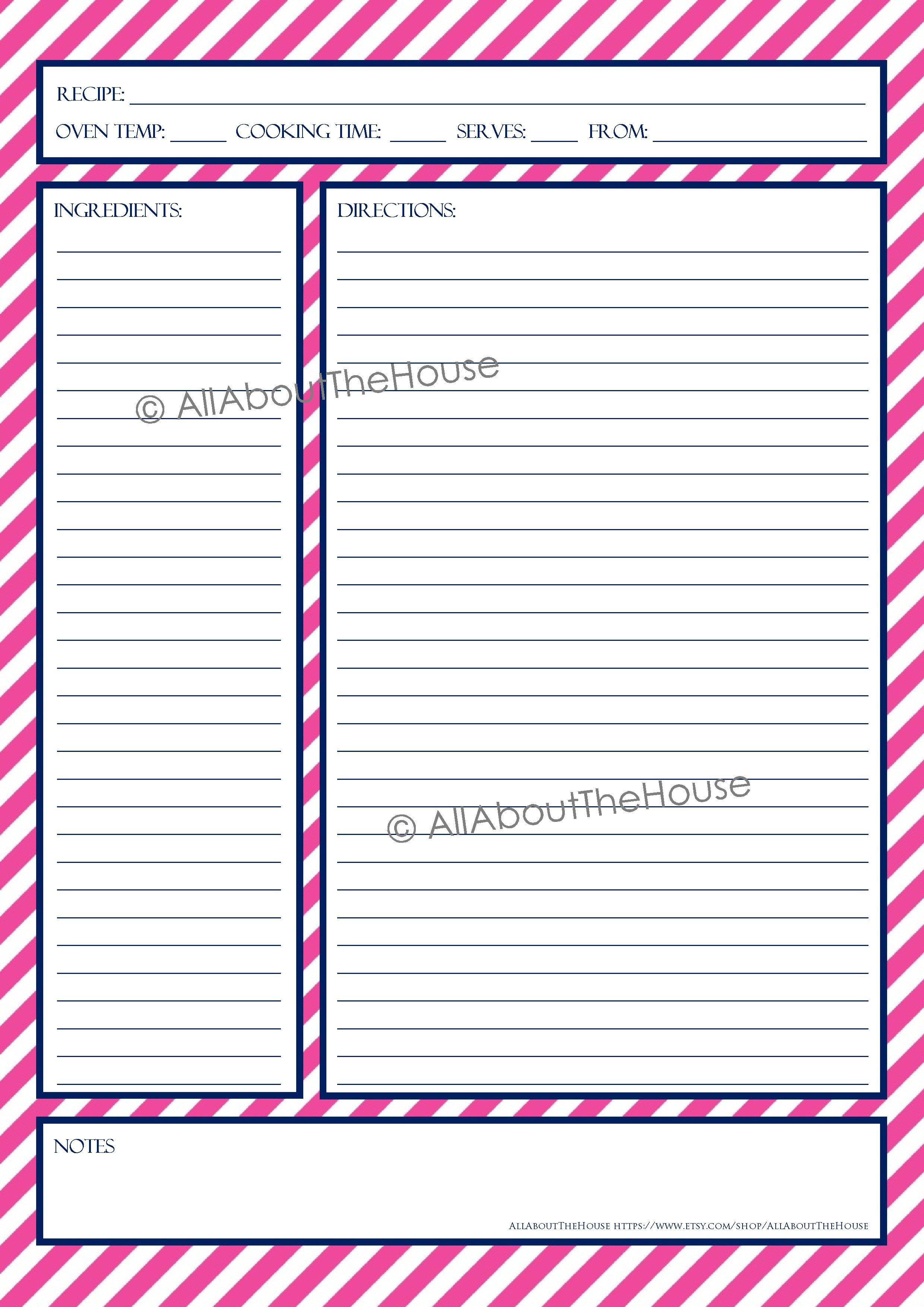 Full Page Recipe Template Editable Recipe Template