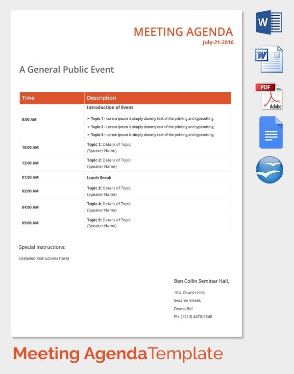 Fun Meeting Agenda Template 50 Meeting Agenda Templates Pdf Doc