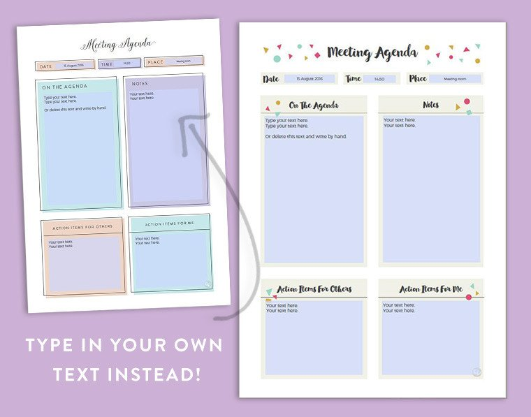 Fun Meeting Agenda Template Free Stylish Feminine Printable Meeting Agenda Template