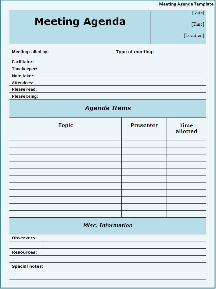 Fun Meeting Agenda Template Meeting Agendas Templates