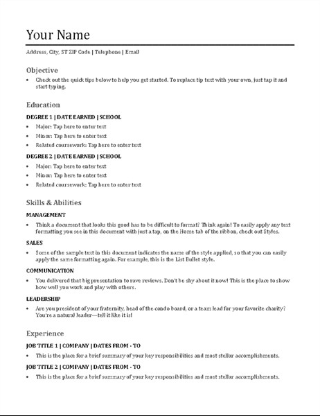 Functional Resume Templates Word Functional Resume