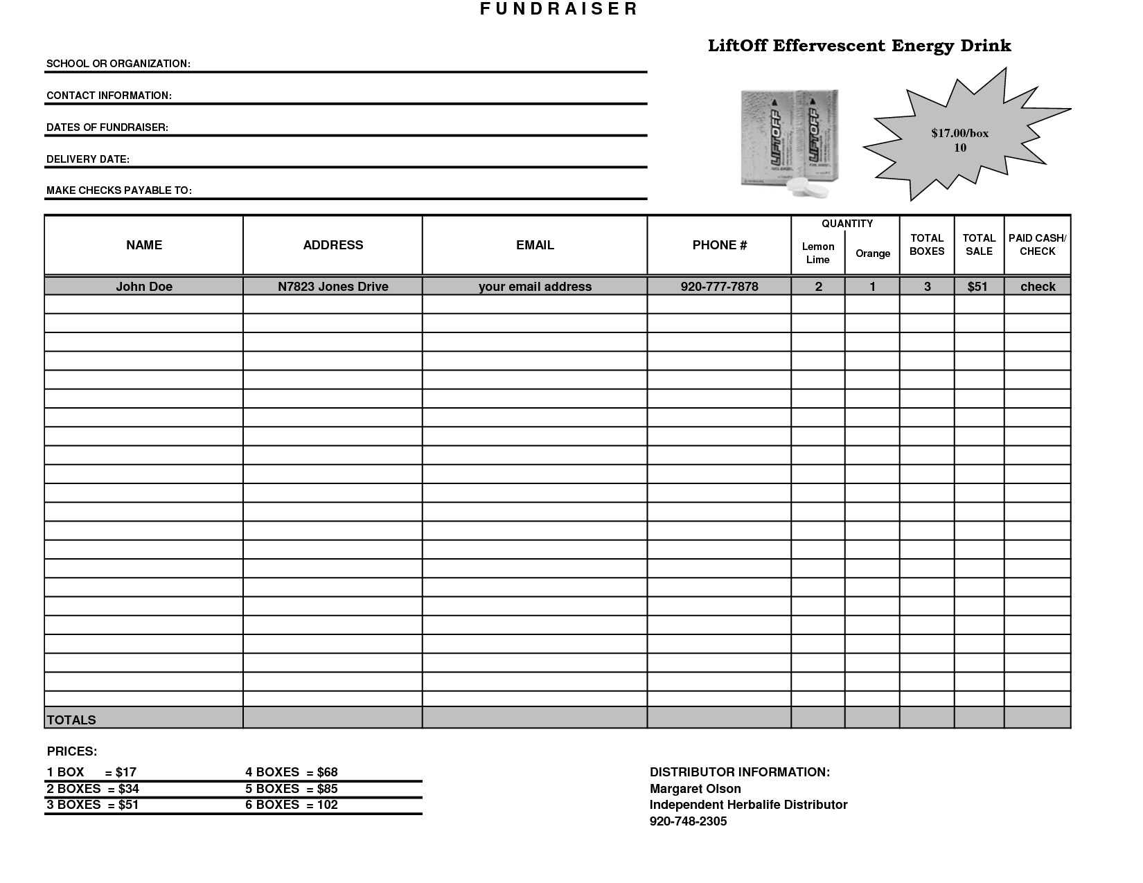 Fundraising Plan Template Excel Fundraiser Template Excel Fundraiser order form Template