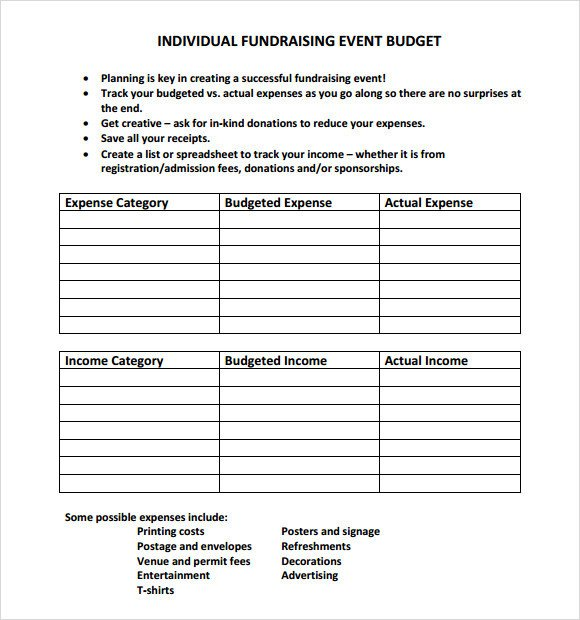 Fundraising Plan Template Excel Sample event Bud 13 Documents In Pdf Word Excel