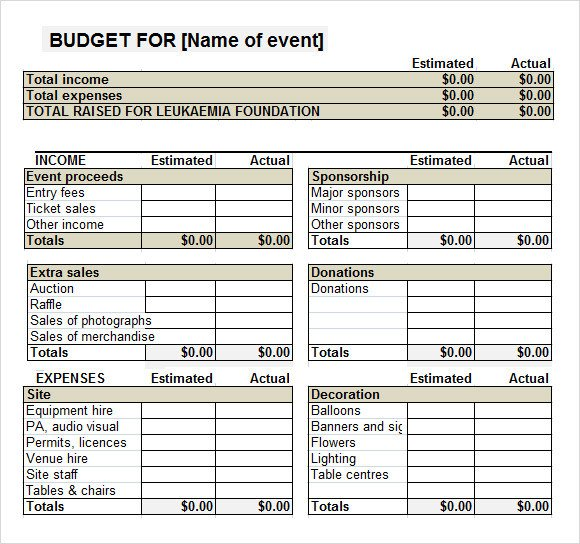 Fundraising Plan Template Excel Sample event Bud Template 11 Free Documents Download