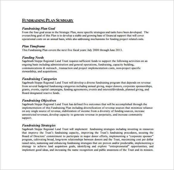Fundraising Plan Template Word 17 Fundraising Plan Templates Free Sample Example
