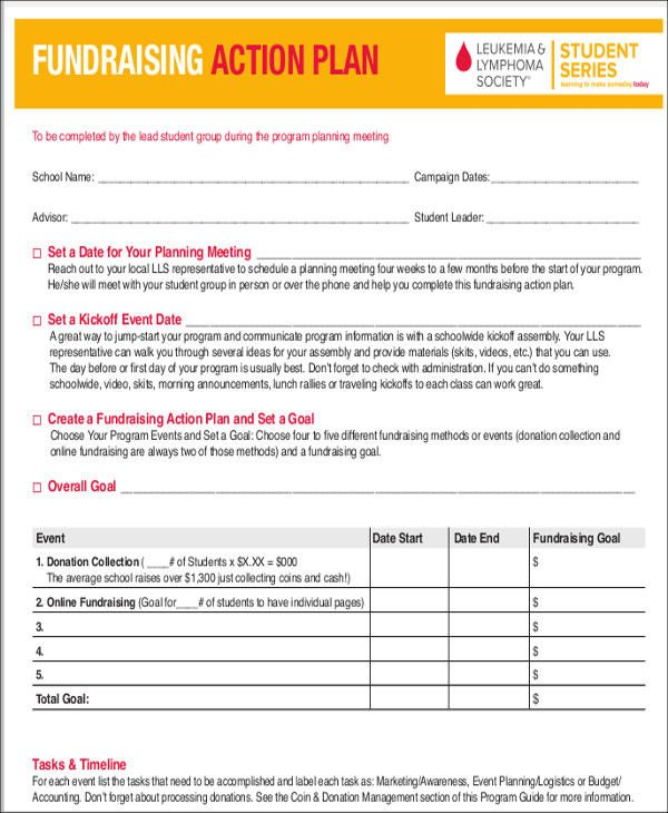 Fundraising Plan Template Word 8 event Action Plan Templates 7 Free Word Pdf format