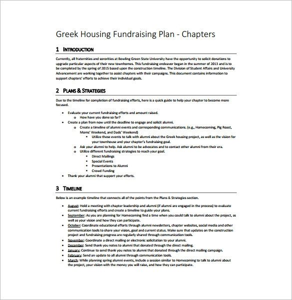 Fundraising Plan Template Word Fundraising Plan Template 11 Free Word Pdf Documents