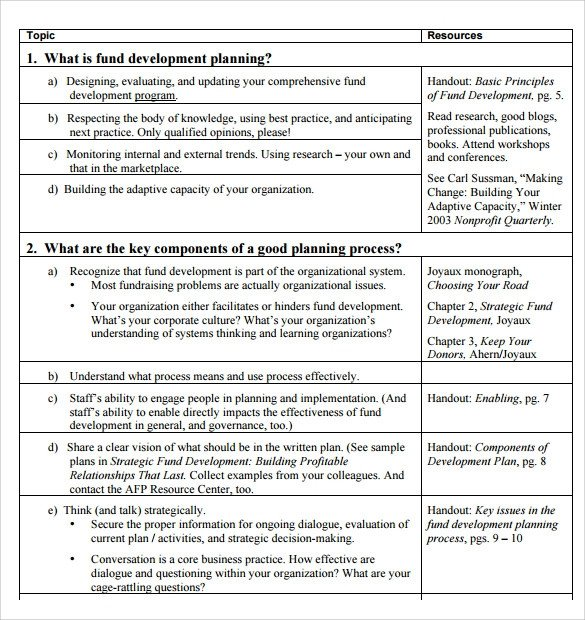 Fundraising Plan Template Word Sample Development Plan Template 11 Free Documents In