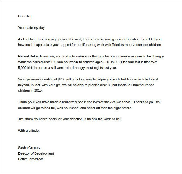 Fundraising Thank You Letter Fundraising Letter Template – 7 Free Word Pdf Documents