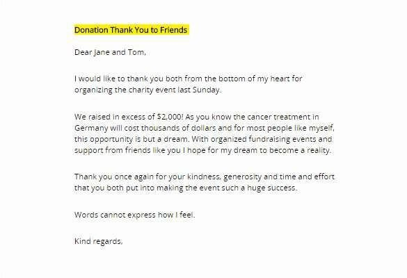 Fundraising Thank You Letter Memorial Donation Letter Template or Donor Thank You