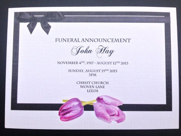 Funeral Announcement Template Free 13 Funeral Invitation Templates Free Psd Vector Eps