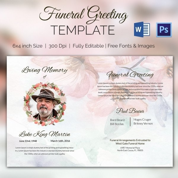 Funeral Announcement Template Free 15 Funeral Card Templates Psd Ai Eps