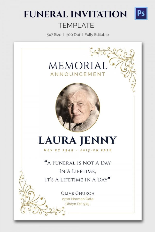 Funeral Announcement Template Free 15 Funeral Invitation Templates – Free Sample Example
