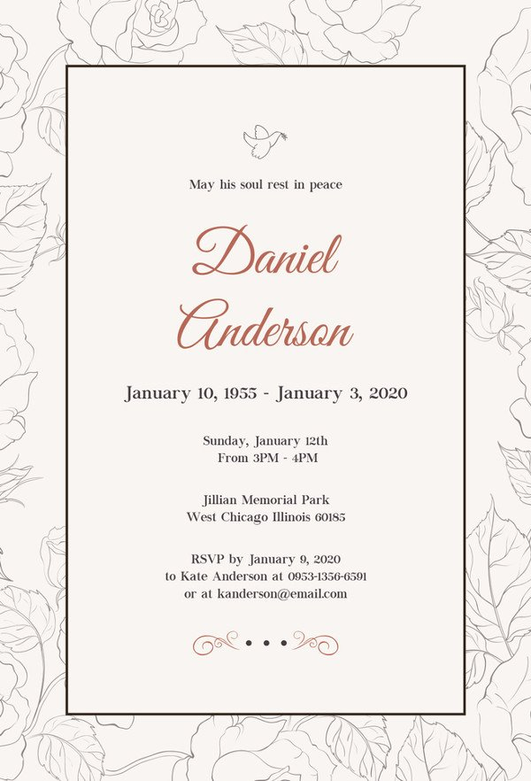 Funeral Announcement Template Free 27 Best Blank Invitation Templates Psd Ai
