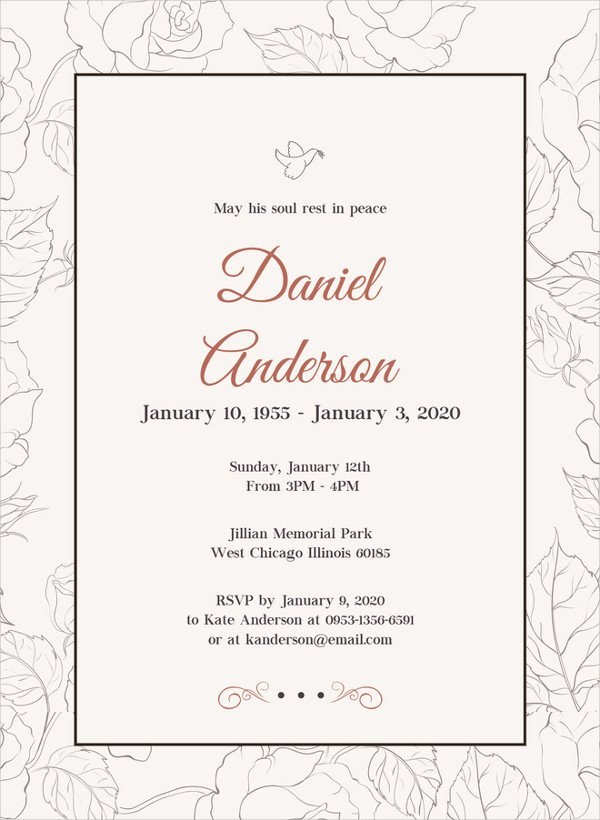 Funeral Announcement Template Free 28 Funeral Invitation Templates Psd Ai