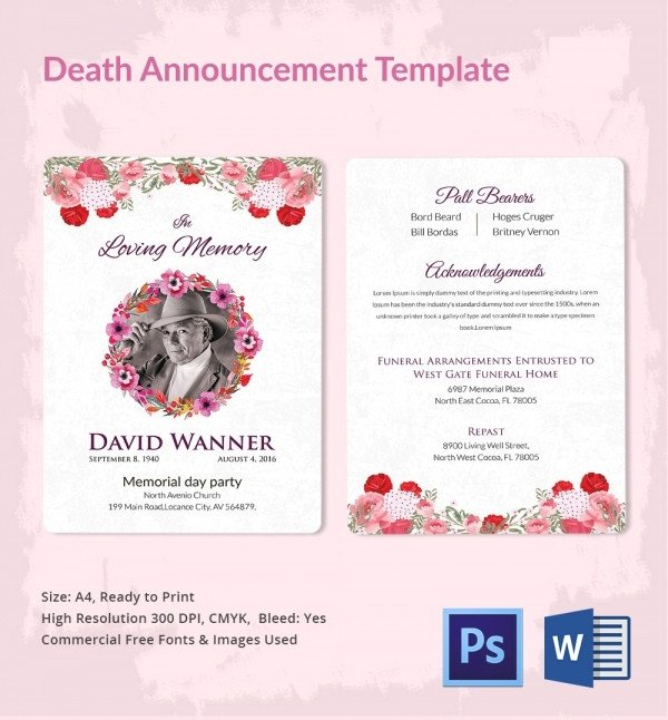 Funeral Announcement Template Free Death Announcement 5 Word Psd format Download