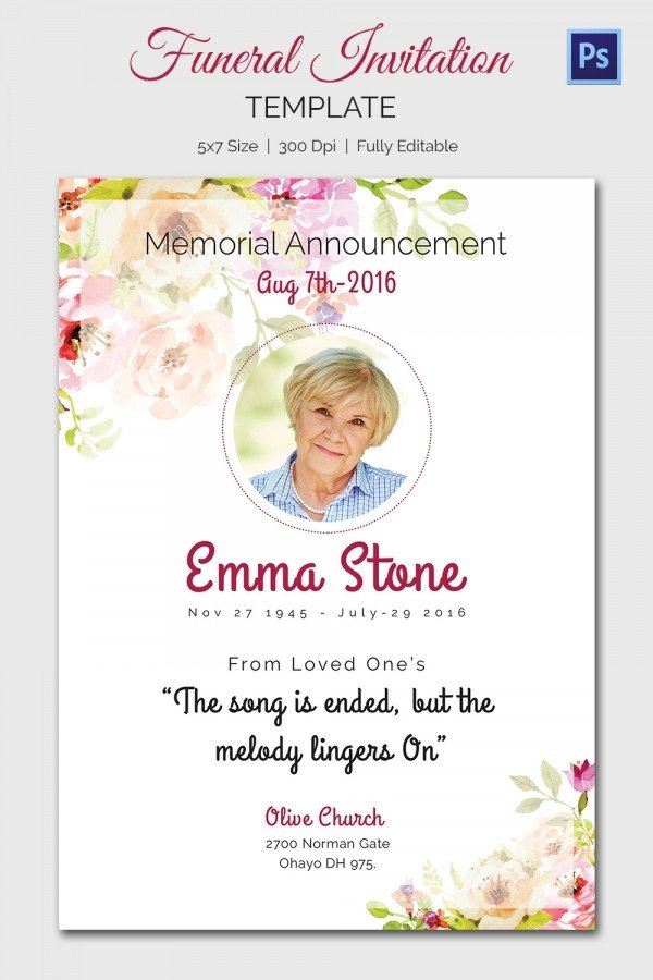 Funeral Announcement Template Free Funeral Invitation Template – 12 Free Psd Vector Eps Ai