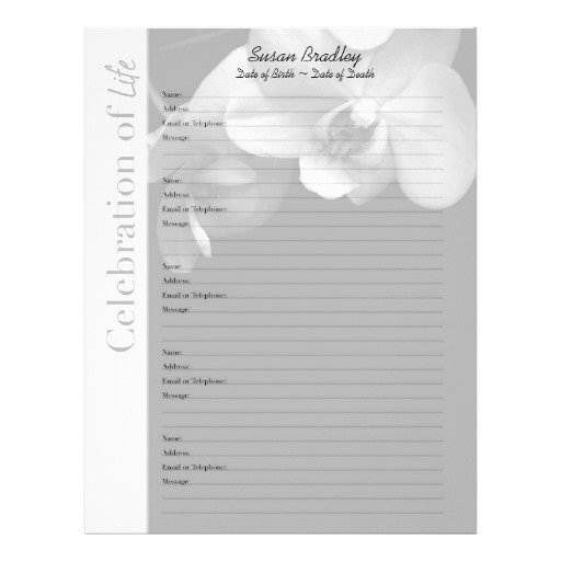 Funeral Guest Book Template orchid 1 Memorial Guest Book Custom Filler Pages