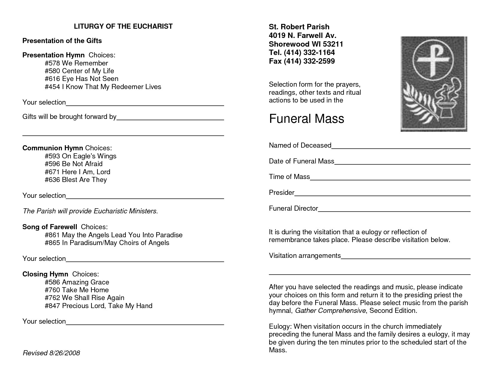 Funeral Mass Program Template 29 Of Downloadable Catholic Funeral Template
