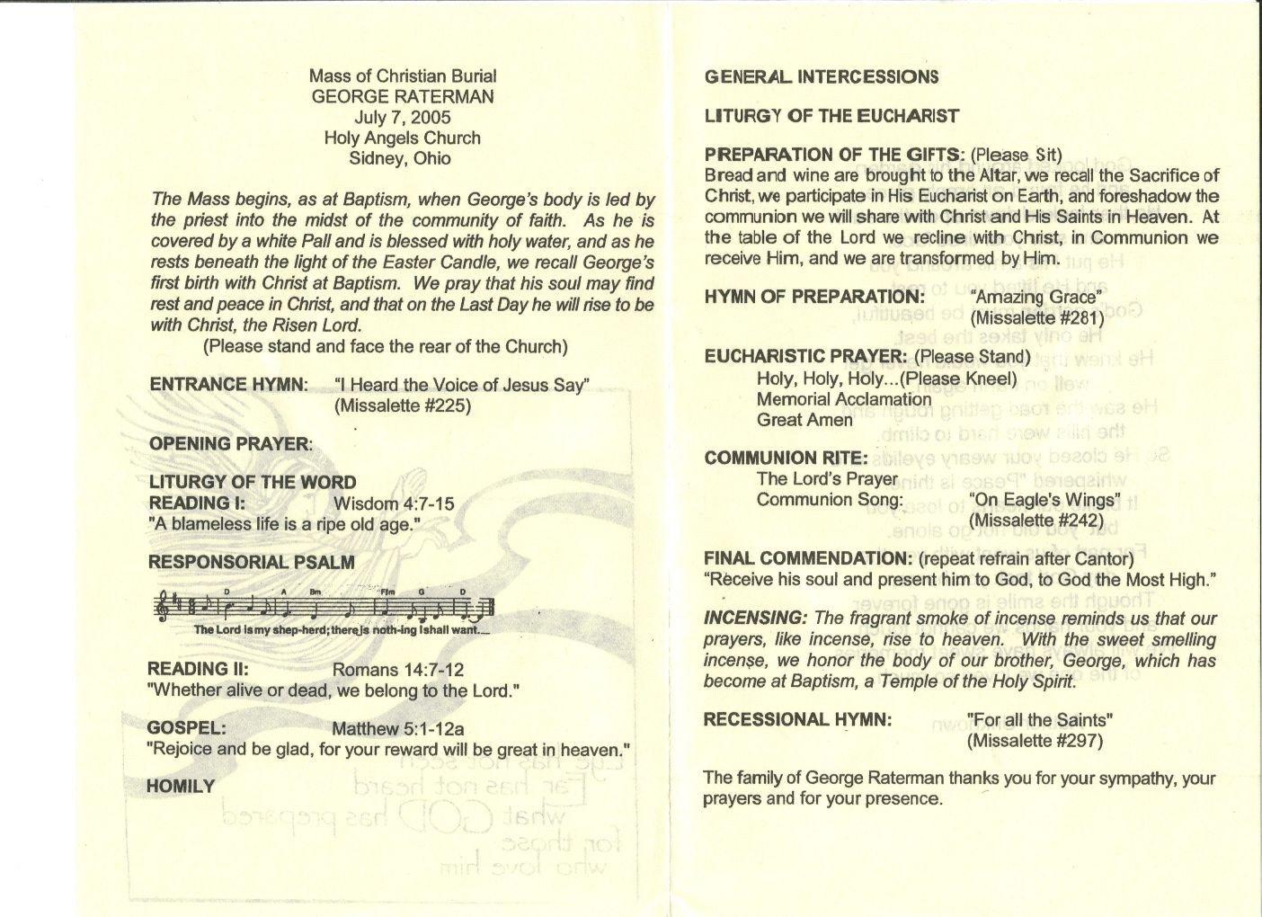 Funeral Mass Program Template How to Write Catholic Mass Program Funeral